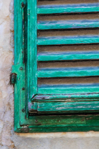 Photograph - Faded Green Window Shutter by David Letts