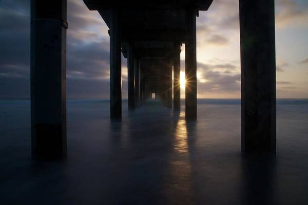 Scripps Pier Photograph - Fading Sun by Michael White