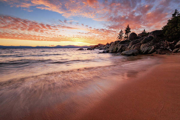 Herron Photograph - Fading Sunset Waves At Sand Harbor by Mike Herron