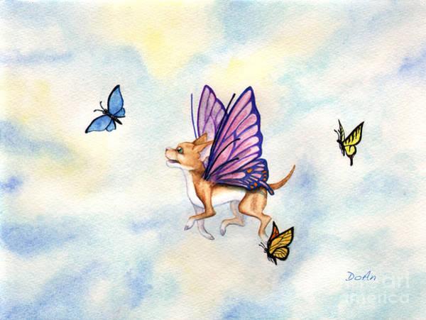 Faerie Painting - Faerie Dog Flies by Antony Galbraith