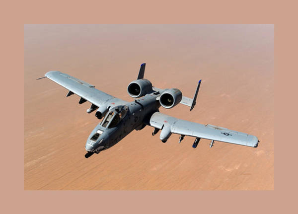 Wall Art - Photograph - Fairchild Republic A-10 Thunderbolt II Over Afghanistan With Medium Border by L Brown