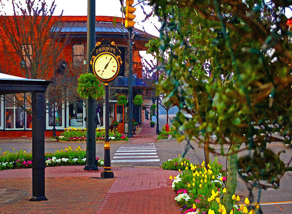 Painting - Fairhope Ave With Clock Down Section Street by Michael Thomas