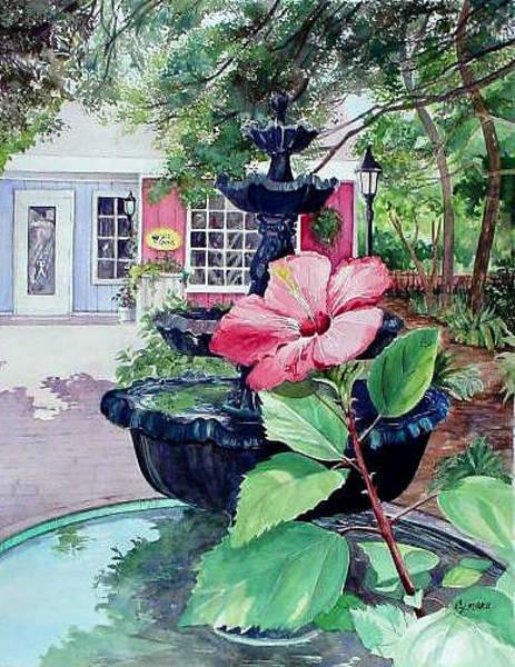 Alabama Painting - Fairhope Fountain by Cynara Shelton