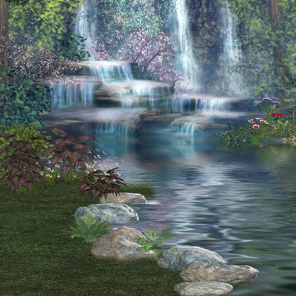 Digital Art - Fairies Hidden Lake by Digital Art Cafe