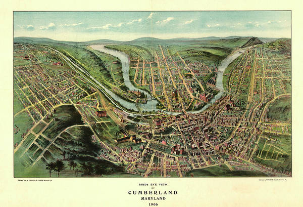 Maryland Mixed Media - Bird's Eye View Of Cumberland, Maryland 1906 by Fowler Thaddeus Mortimer