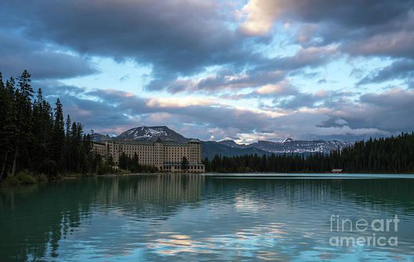 Vermillion Lakes Wall Art - Photograph - Fairmont Hotel Lake Louise by Mike Reid