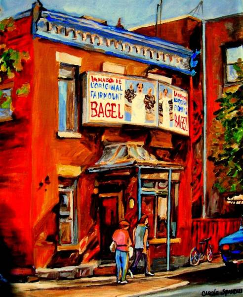 Luncheonettes Painting - Fairmount Bagel Montreal by Carole Spandau