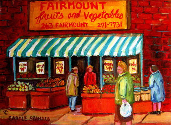 Luncheonettes Painting - Fairmount Fruit And Vegetables by Carole Spandau