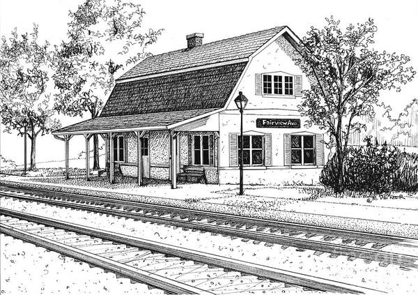 Drawing - Fairview Ave Train Station by Mary Palmer