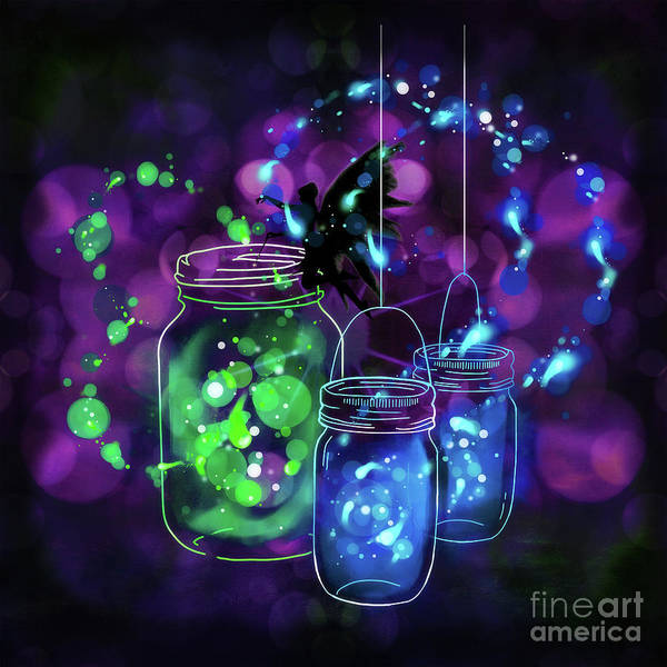 Digital Art - Fairy And Firefly Jars by Tracey Everington