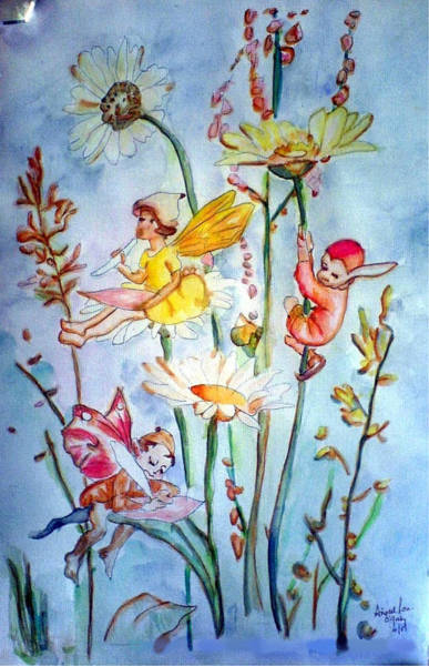 Painting - Fairy Babies by Aingeal Rose