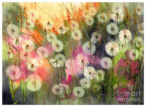 Field Of Flowers Wall Art - Painting - Fairy Dandelions Fields by Suzann's Art