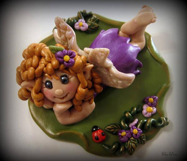 Polymer Clay Photograph - Fairy In Purple by Trina Prenzi