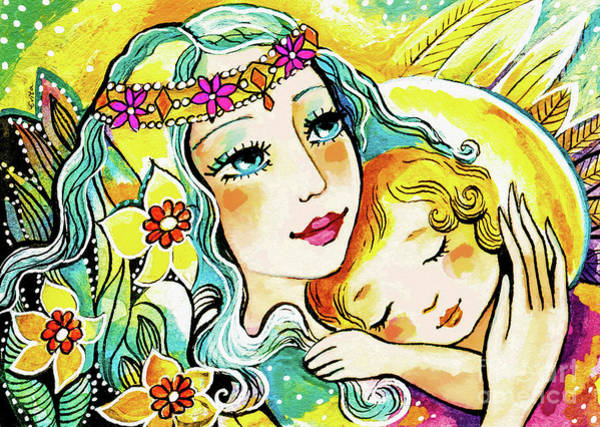 Painting - Fairy Mother And Angel Child by Eva Campbell