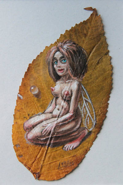 Painting - Fairy On Cherry Leaf  by Victor Molev