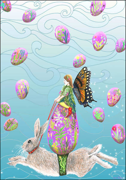 Mixed Media - Fairy Riding An Egg And Easter Bunny by Lise Winne