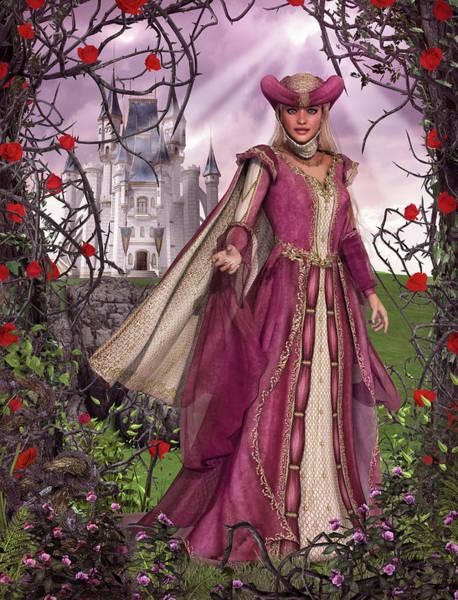 Sleeping Beauty Castle Digital Art - Fairy Tale Princess Sleeping Beauty Rose Castle by Oliver Denker