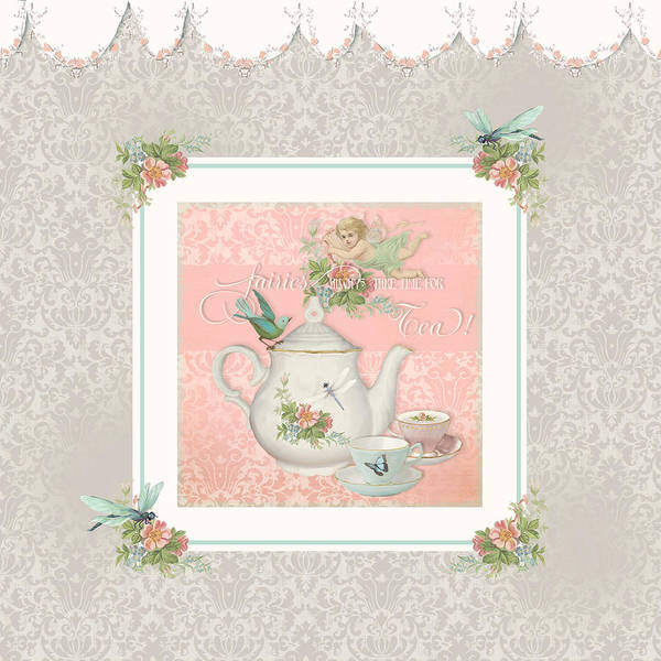 Wall Art - Painting - Fairy Teacups - Tea Party For Two by Audrey Jeanne Roberts