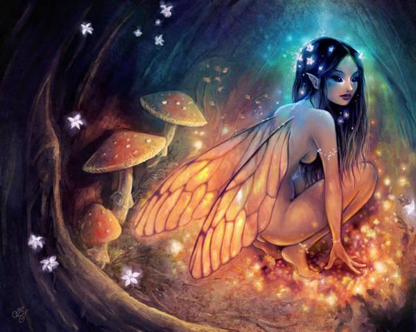 Faerie Painting - Fairydust Nest by Caroline Jamhour