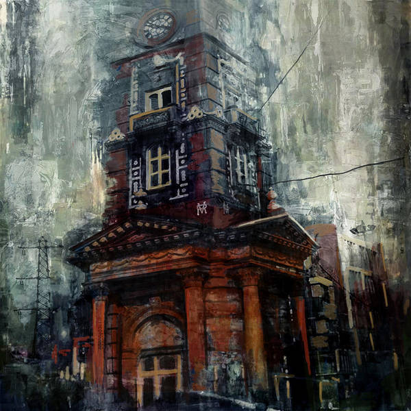 Clock Tower Painting - Faisalabad 2b by Maryam Mughal