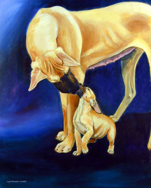 Great Dane Painting - Faith And Hope Great Dane by Lyn Cook