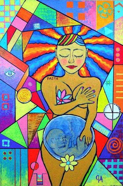 Womb Painting - Faith, She Carries The World On Her Hips by Jeremy Aiyadurai