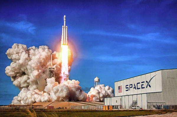 Photograph - Falcon Heavy Spacex Rocket Launch Maiden Flight by SpaceX