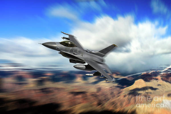 General Dynamics Digital Art - Falcon On The Range by J Biggadike