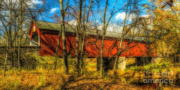 Photograph - Fall At The Frankenfield Covered Bridge by Nick Zelinsky