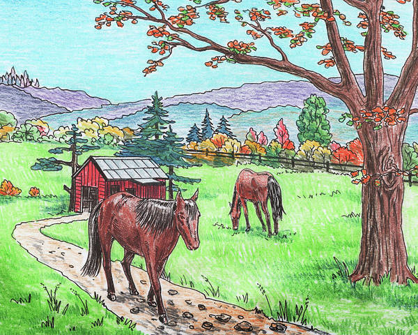 Painting - Fall At The Horse Ranch by Irina Sztukowski