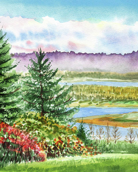 Gloomy Painting - Fall At The River Watercolor Landscape  by Irina Sztukowski