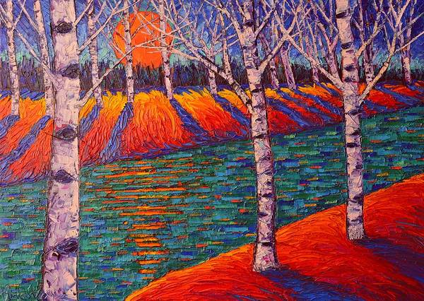 Painting - Fall Birches At Sunrise Contemporary Impressionist Palette Knife Oil Painting By Ana Maria Edulescu by Ana Maria Edulescu