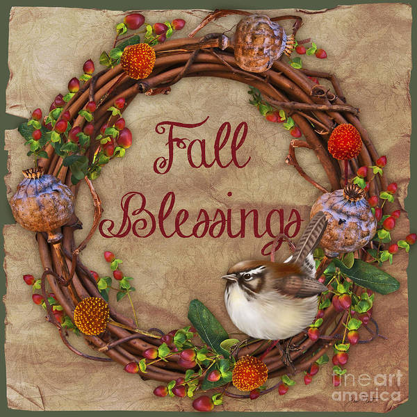 Wall Paper Painting - Fall Blessings-jp3129-sq by Jean Plout