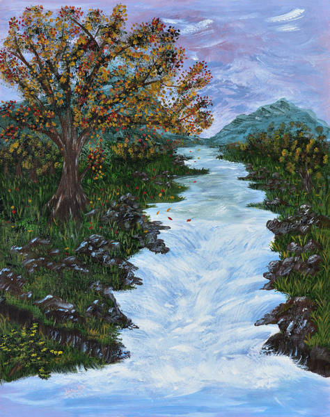 Wall Art - Painting - Fall By The River by Donna Blackhall