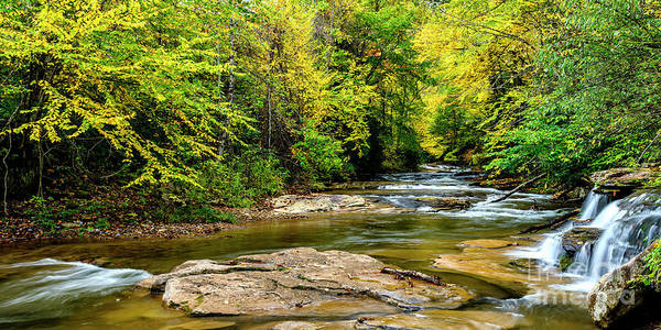 Photograph - Fall Color Waterfall Leatherwood Creek by Thomas R Fletcher