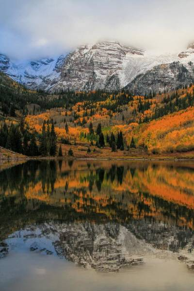 Photograph - Fall Colors At Maroon Bells Colorado by Dan Sproul