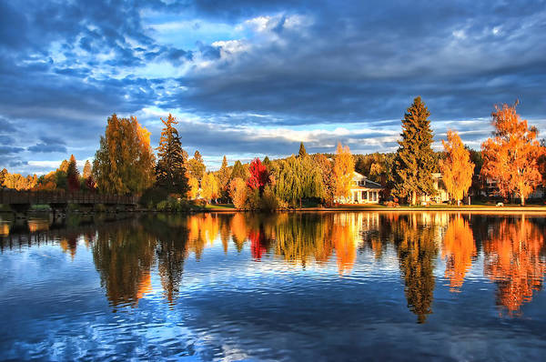 Wall Art - Photograph - Fall Colors On Mirror Pond - Bend, Oregon by John Melton
