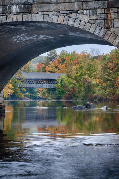 Henniker Photograph - fall colors over Henniker covered bridge by Jeff Folger