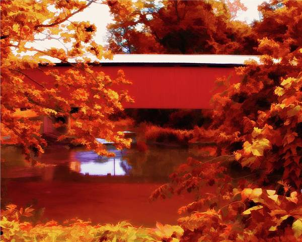 Digital Art - Fall Covered Bridge by John Feiser
