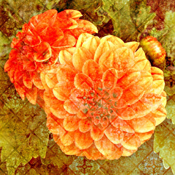 Fall Colors Mixed Media - Fall Dahlias by Cathie Tyler
