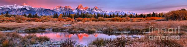 Photograph - Fall Frosty Teton Morning Sunrise Panorama by Adam Jewell