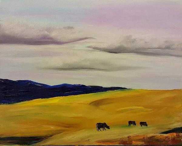 Painting - Fall Grazing In Montana     98 by Cheryl Nancy Ann Gordon