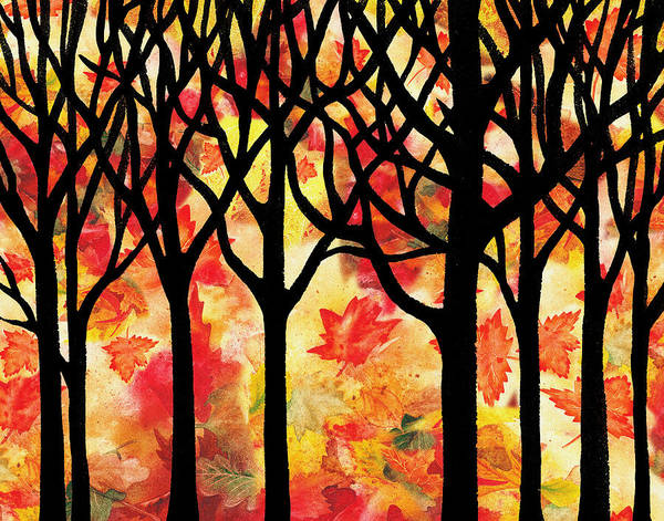 Into The Woods Wall Art - Painting - Fall In The Forest by Irina Sztukowski