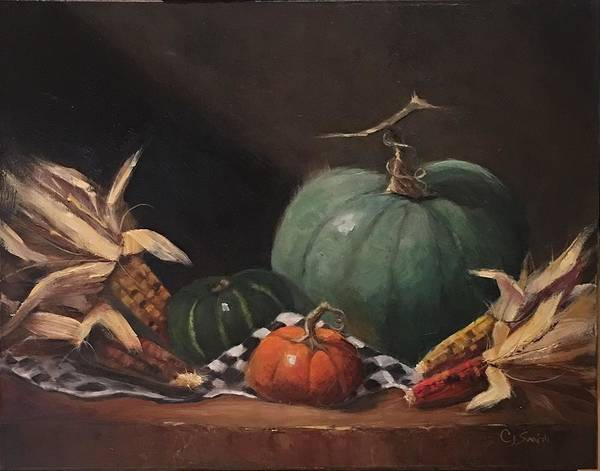 Husk Painting - Fall Is Here by Cheryl J Smith