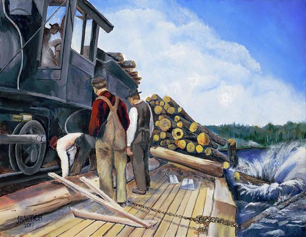 Painting - Fall Lake Train by Joe Baltich