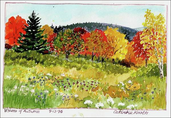 Painting - Fall Landscape Autumn Fantasy Scene Foliage  by Catinka Knoth