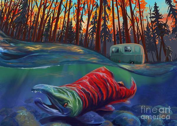 Camper Wall Art - Painting - Fall Salmon Fishing by Sassan Filsoof