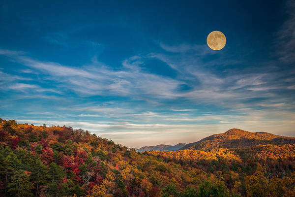 Photograph - Fall Skies With Full Moon by Joye Ardyn Durham