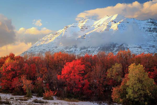 Photograph - Fall Snow On Timpanogos. by Johnny Adolphson