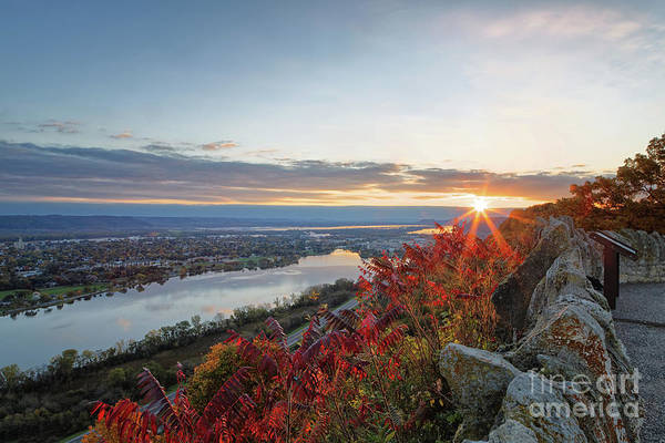 Photograph - Fall Sunrise At Garvin Heights Winona by Kari Yearous